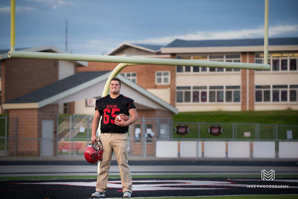 Weirton High School senior football photos on the football field