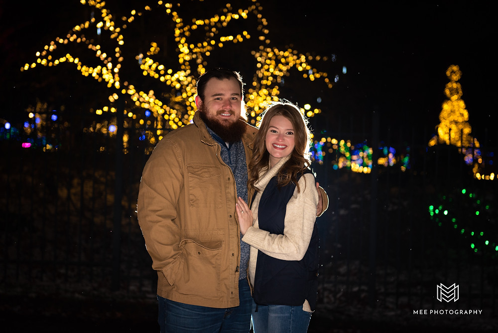 Christmas engagement session at night in Pittsburgh
