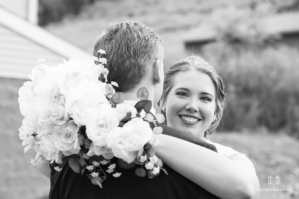 Black and white portrait of the bride and groom in Chester, WV