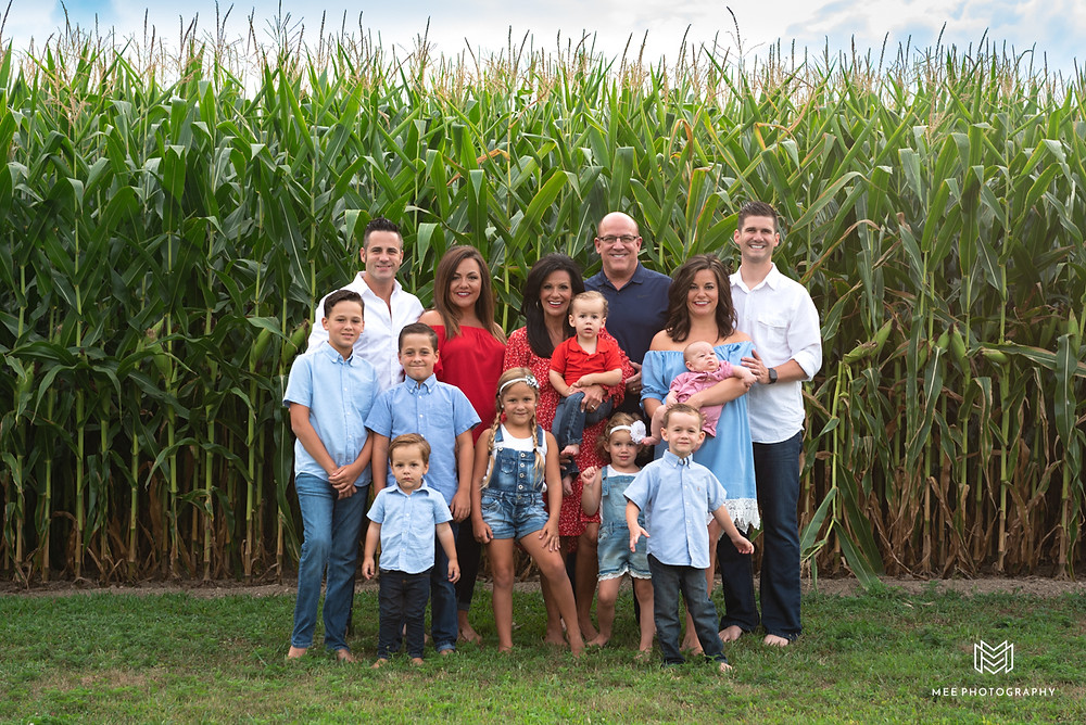 Family photos in a corn field