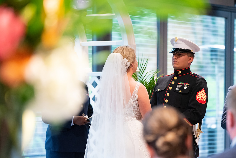 Wedding ceremony in the Garden Room at The National Aviary in Pittsburgh