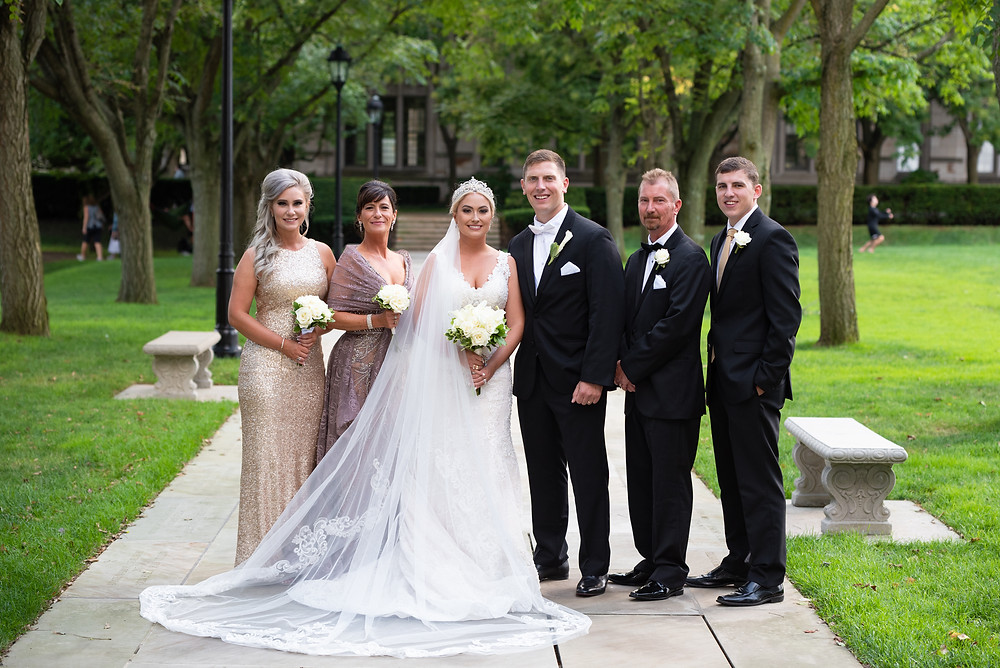Wedding family portrait in front of Pitt Cathedral of Learning
