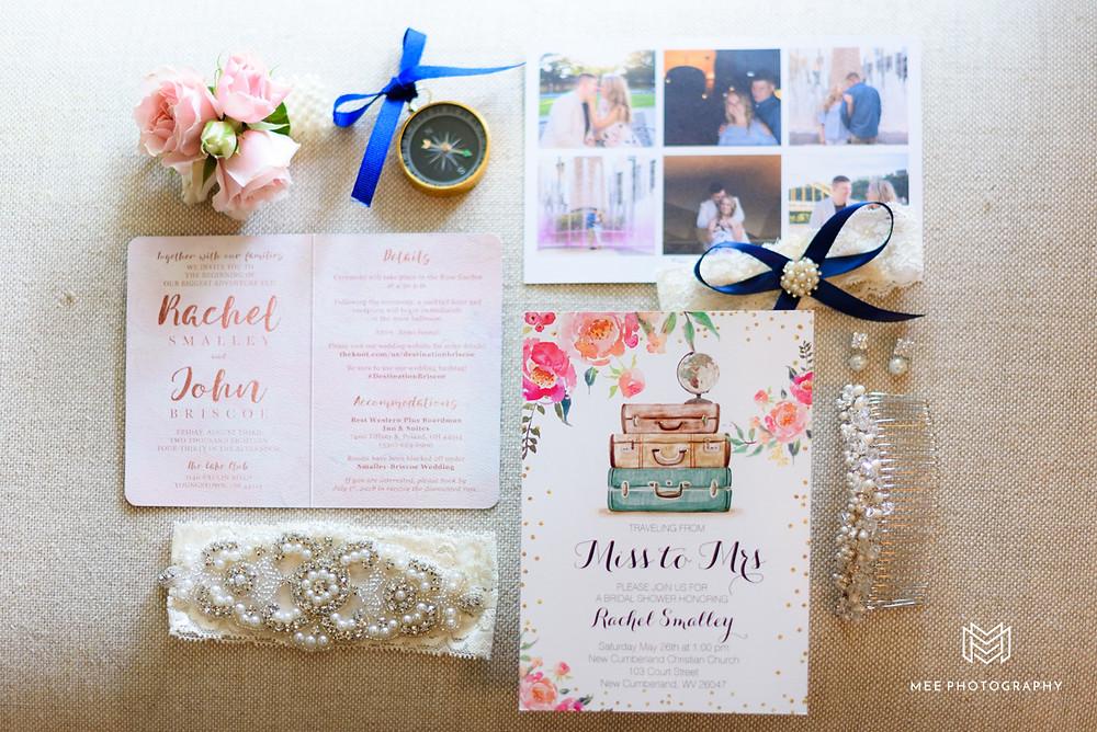 Travel theme wedding invitation suite