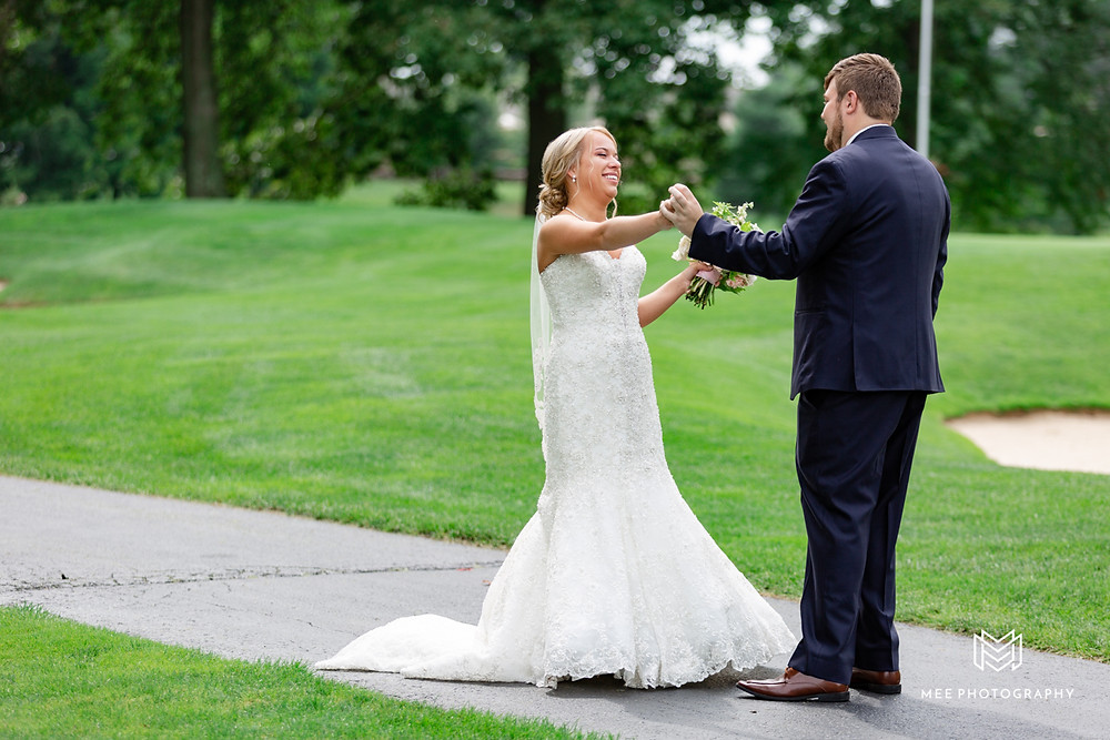 The bride and groom's first look at The Lake Club of Ohio