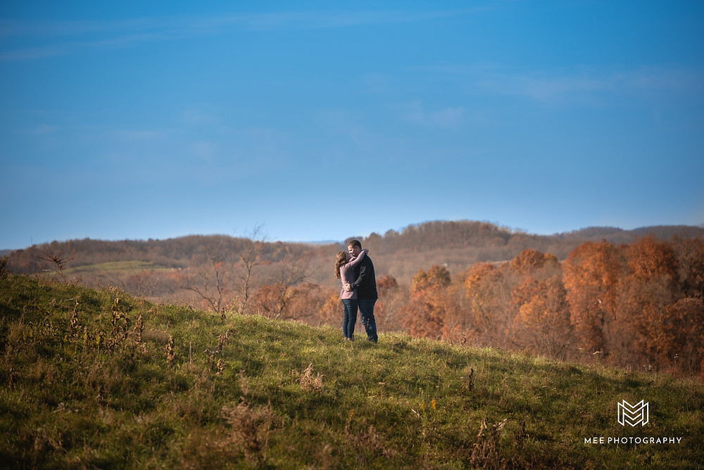 Country engagement session in the rolling hills of West Virginia