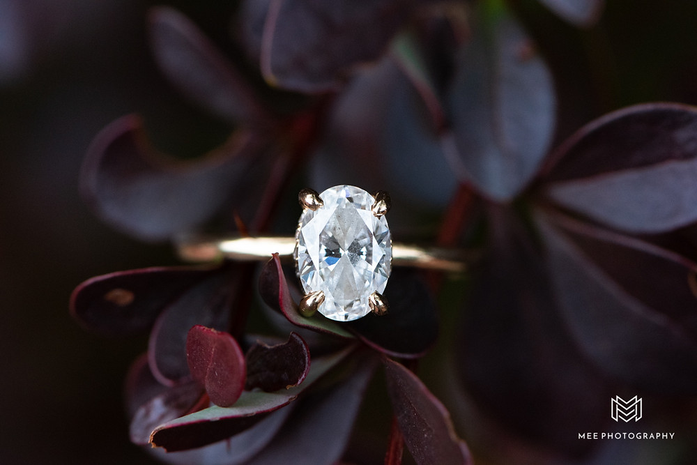 Oval diamond engagement ring with gold band and purple leaves in the background