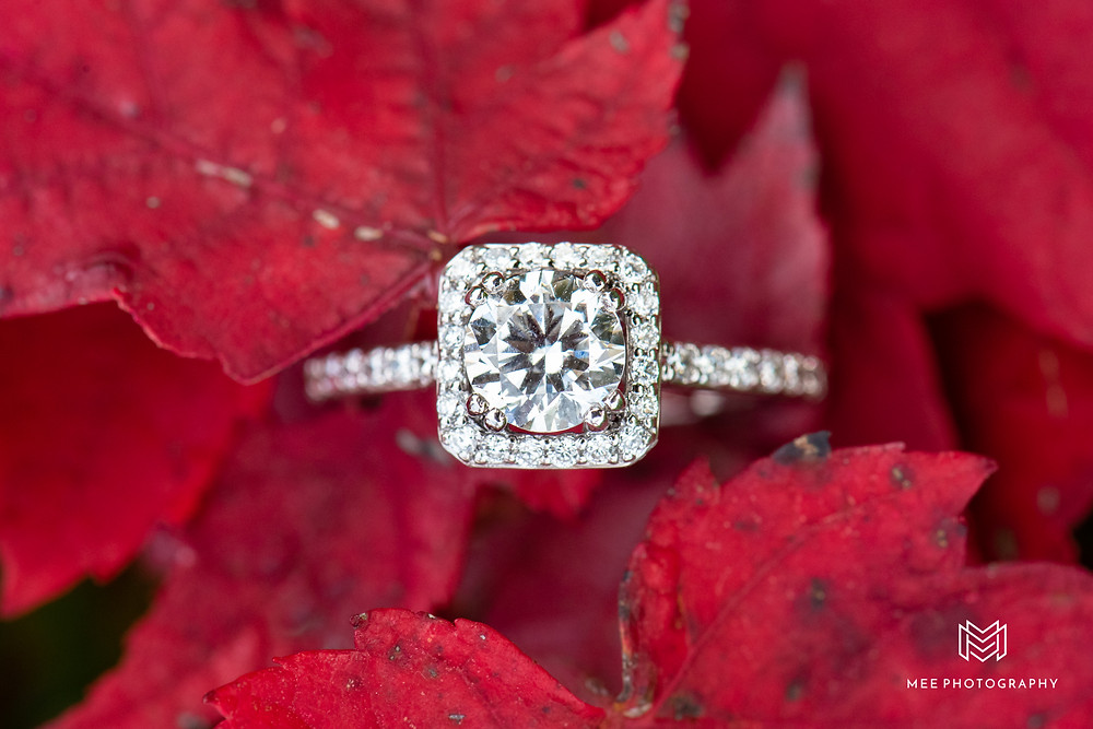 Diamond cushion cut engagement ring with halo