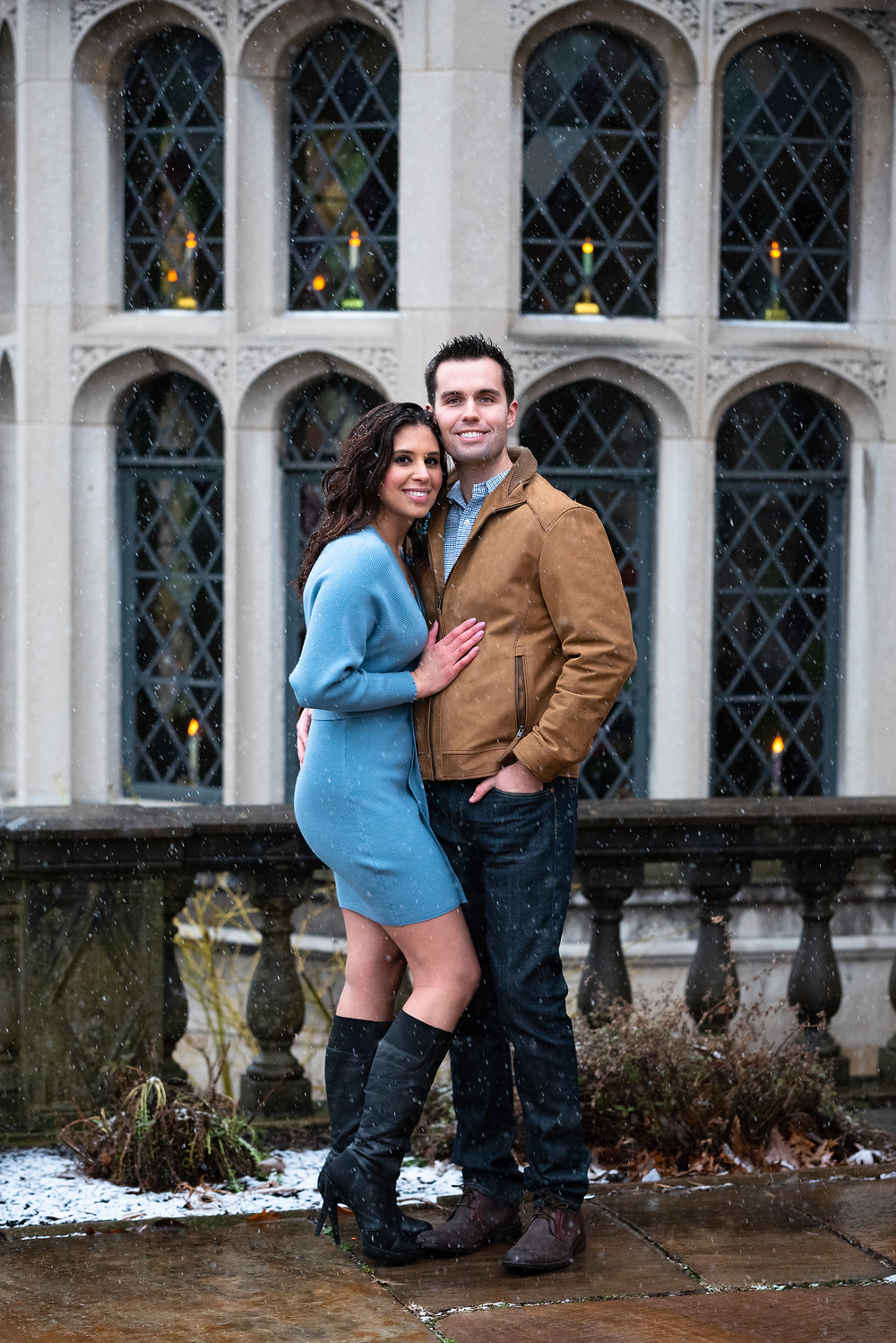 Winter engagement session at Hartwood Acres Mansion in Pittsburgh