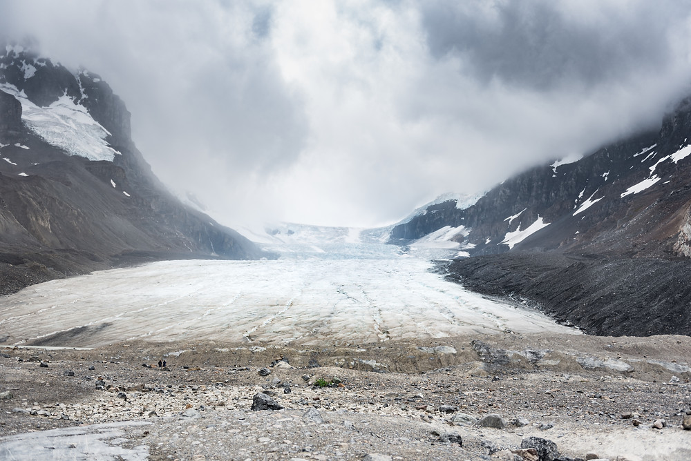 A massive glacier near Jasper National Park in Alberta Canada  under a stormy sky