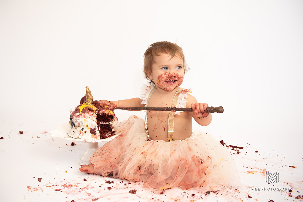 One year old girl Harry Potter cake smash session