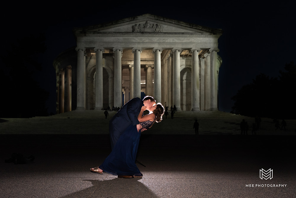 Night engagement session with the Thomas Jefferson Memorial lit up in the background
