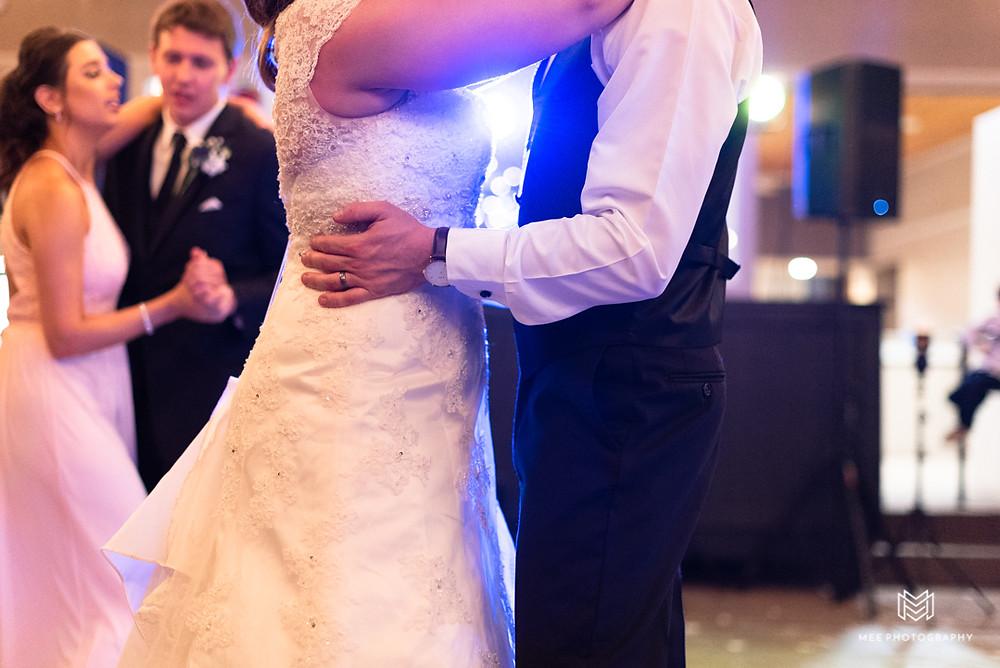 Bride a groom dancing the night away