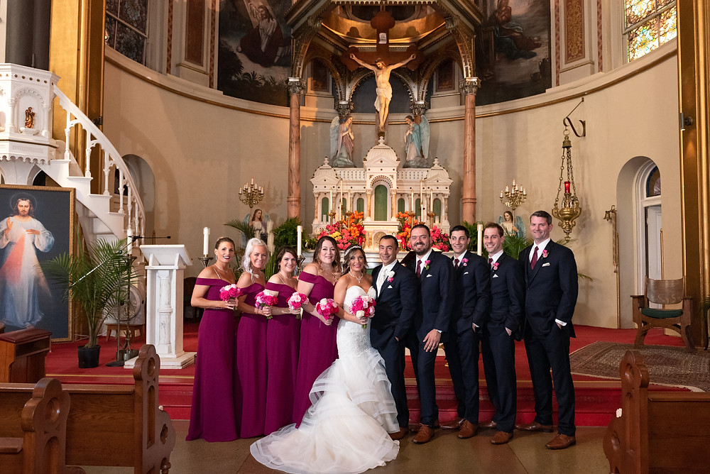 Bridal party portrait at St. Stanislaus Kostka in Pittsburgh, Pennsylvania