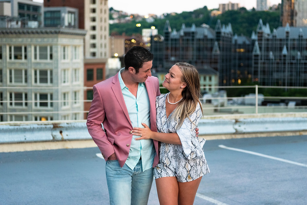 Pittsburgh parking garage roof engagement session