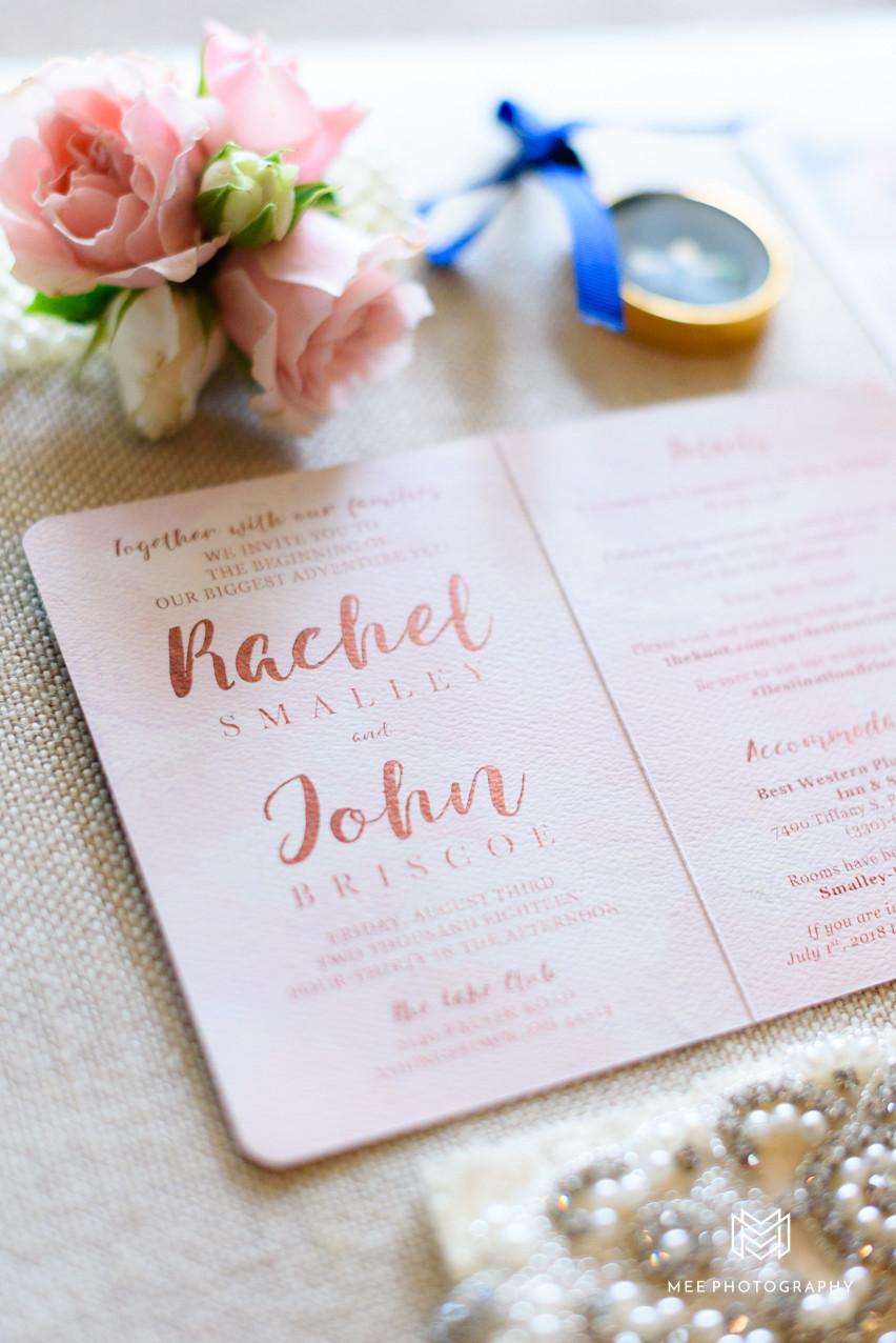 Navy and blush passport wedding invitation
