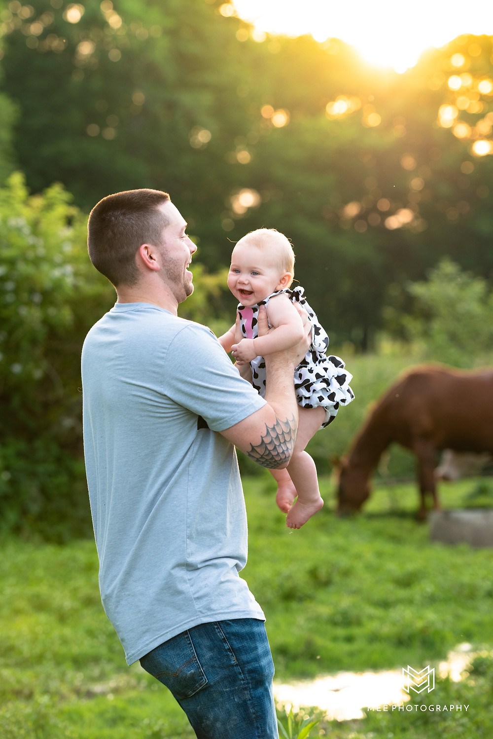 Dad holding baby girl in the air during sunset in a cow pasture in New Cumberland, WV