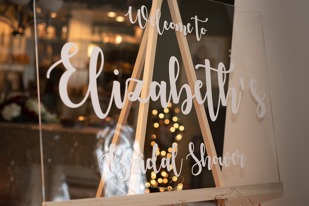 Glass Bridal shower welcome sign with etched letters