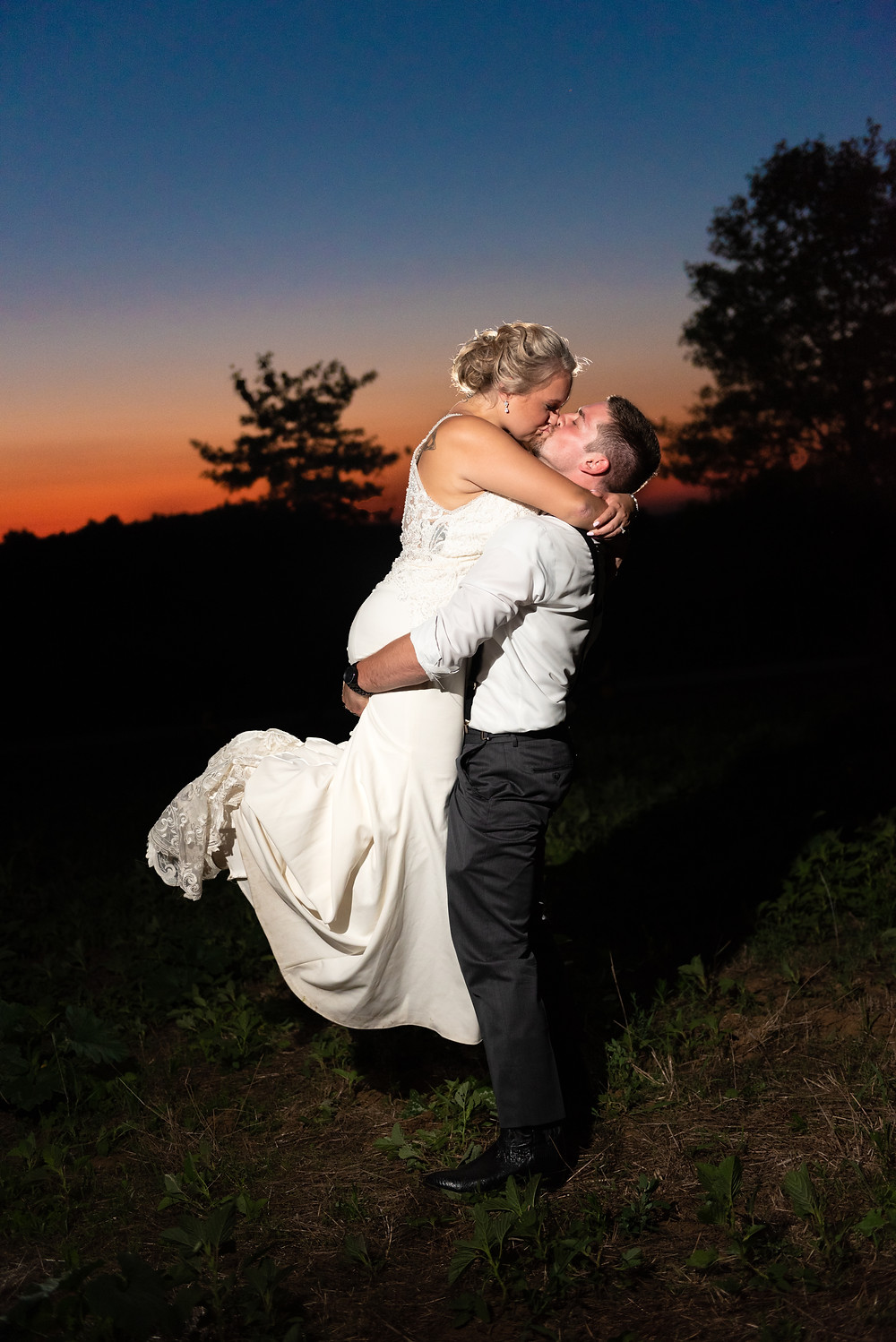 Bride and groom sunset portraits near Pittsburgh