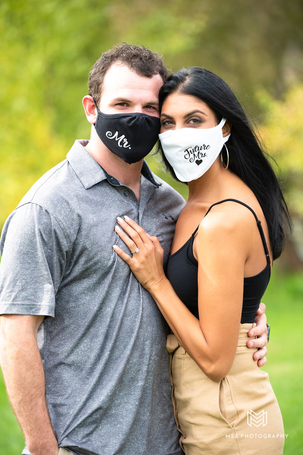 Couple wearing Mr. and Mrs. covid masks after proposal in Ohio