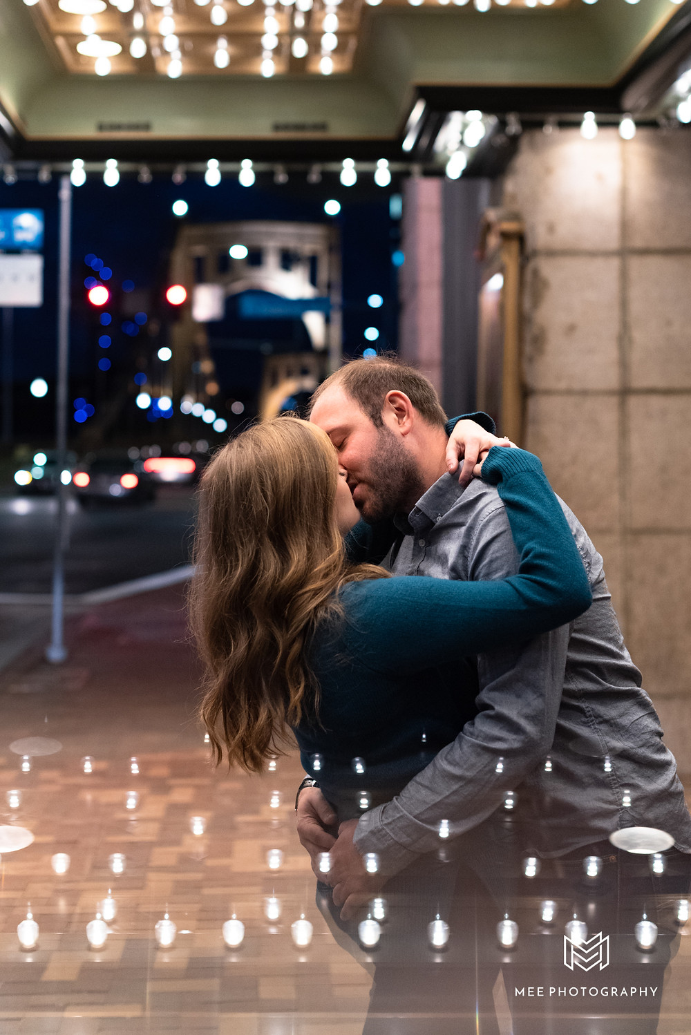 Night engagement session in PIttsburgh with the city lights