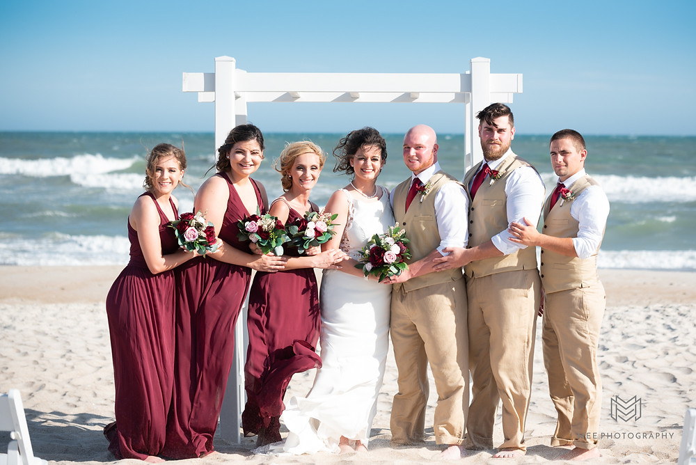 Bridal party beach portraits
