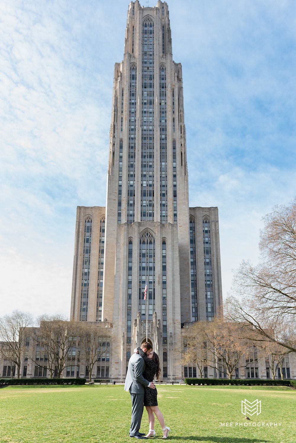 Engagement session with the Cathedral of Learning in background