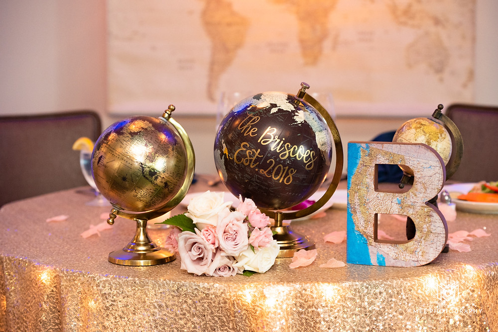 Travel theme bridal table with world globes