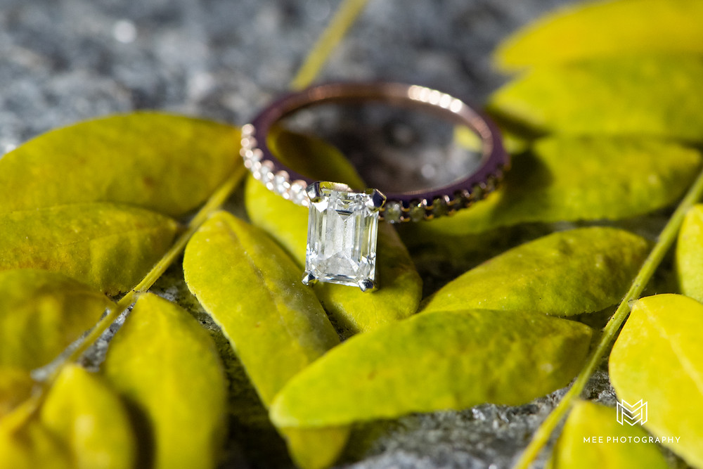 Rectangular diamond engagement ring macro photography