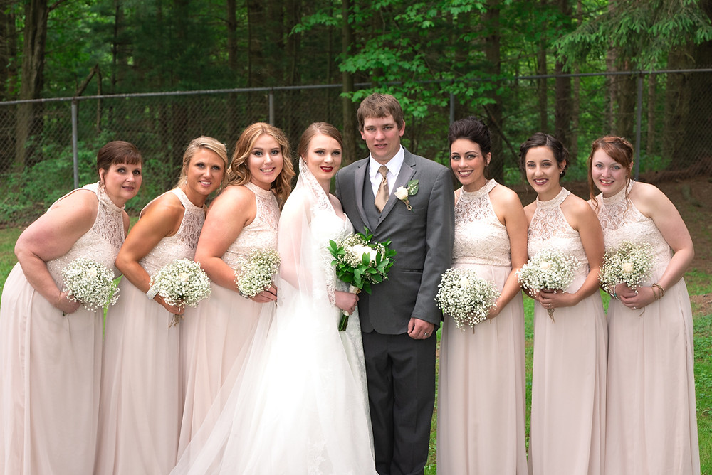 Bridemaids with the newlyweds