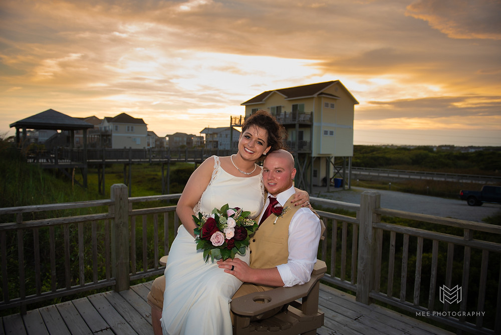 Bridal portrait at sunset on North Topsail Beach