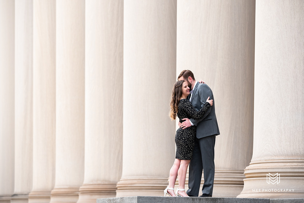 Engagement session with girl in leopard print dress and guy wearing suit