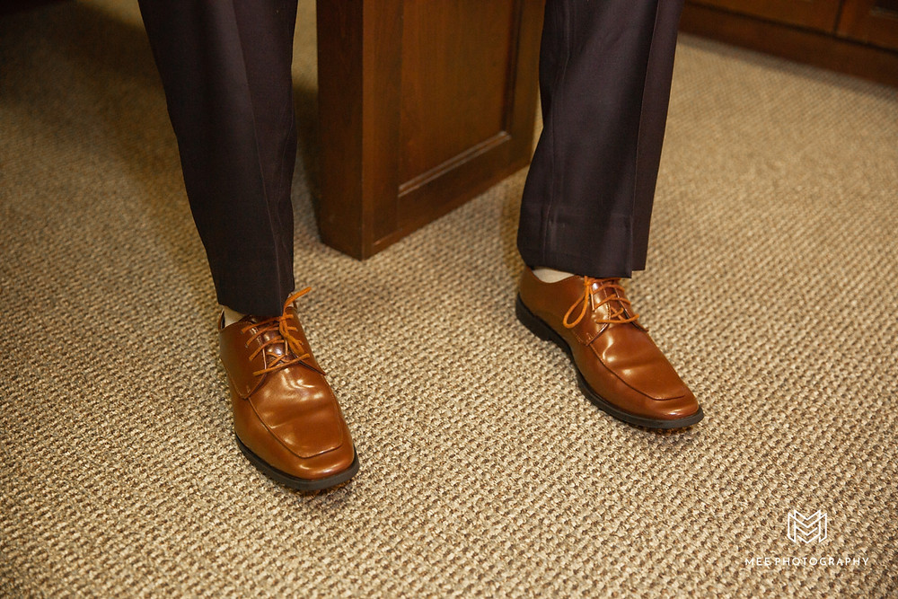 Detail shot of the groom's shoes