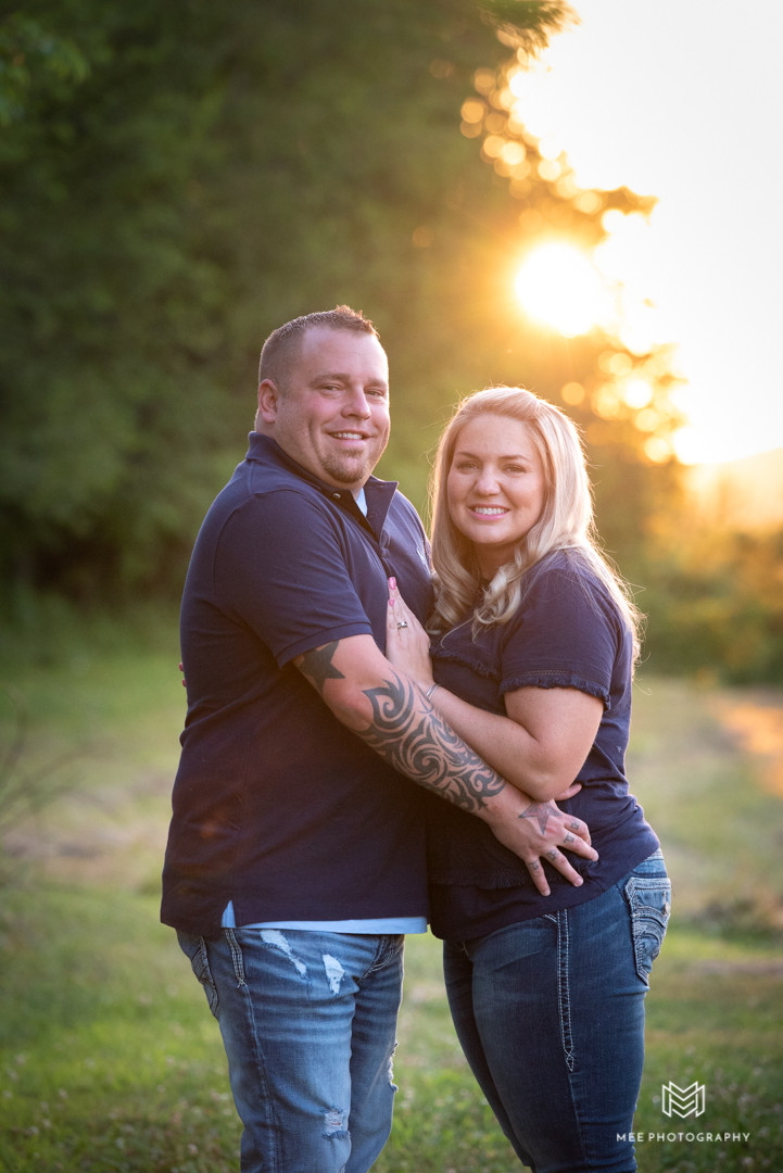 Portrait of two parents at sunset in wild and wonderful West Virginia