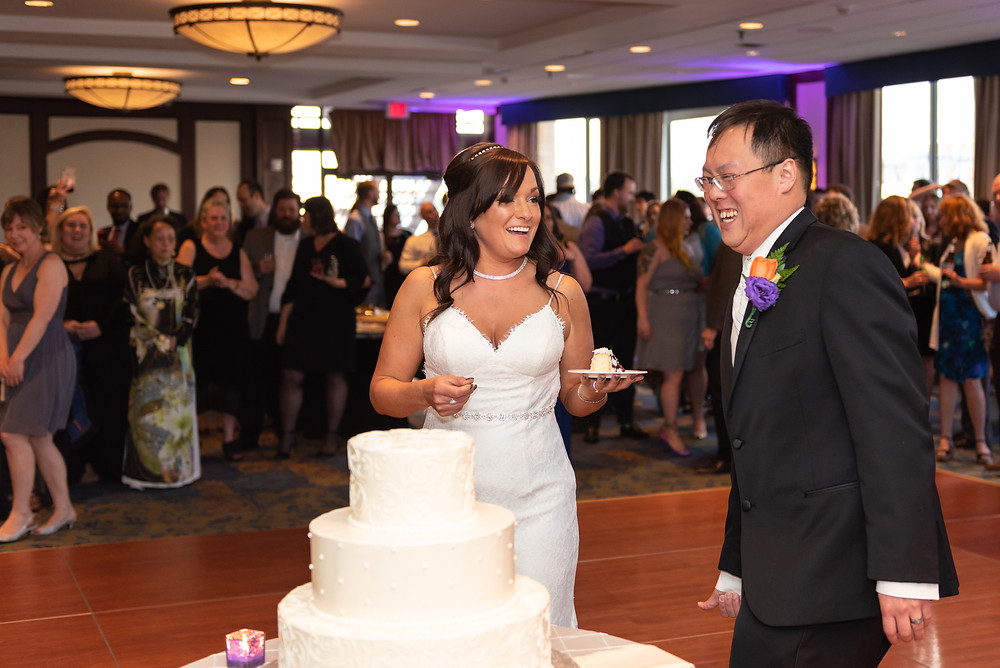 Wedding reception and cake cutting at the Sheraton Pittsburgh Hotel
