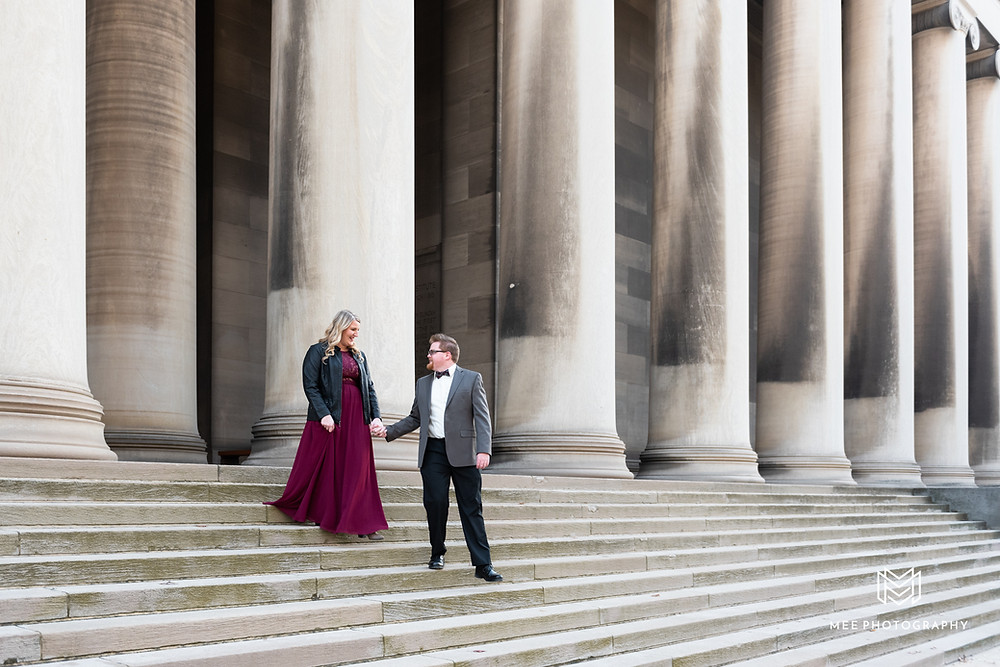 Engagement session at Carnegie Library of Pittsburgh in Oakland