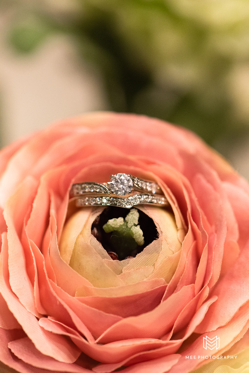 Engagement ring and wedding band in pink peony