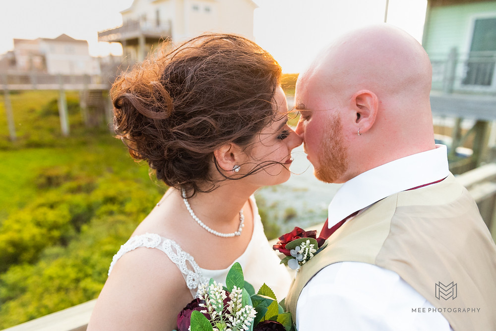 Bride and groom golden hour portraits at the beach house