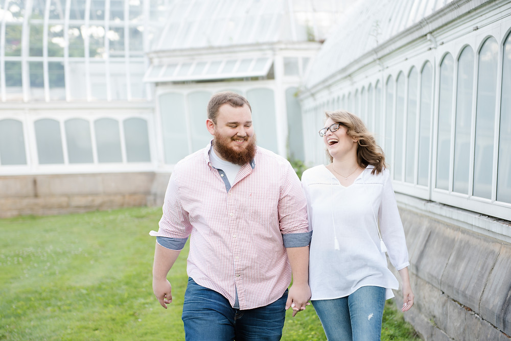A beautiful engagement session in front of Phipps Conservatory in Pittsburgh, PA.