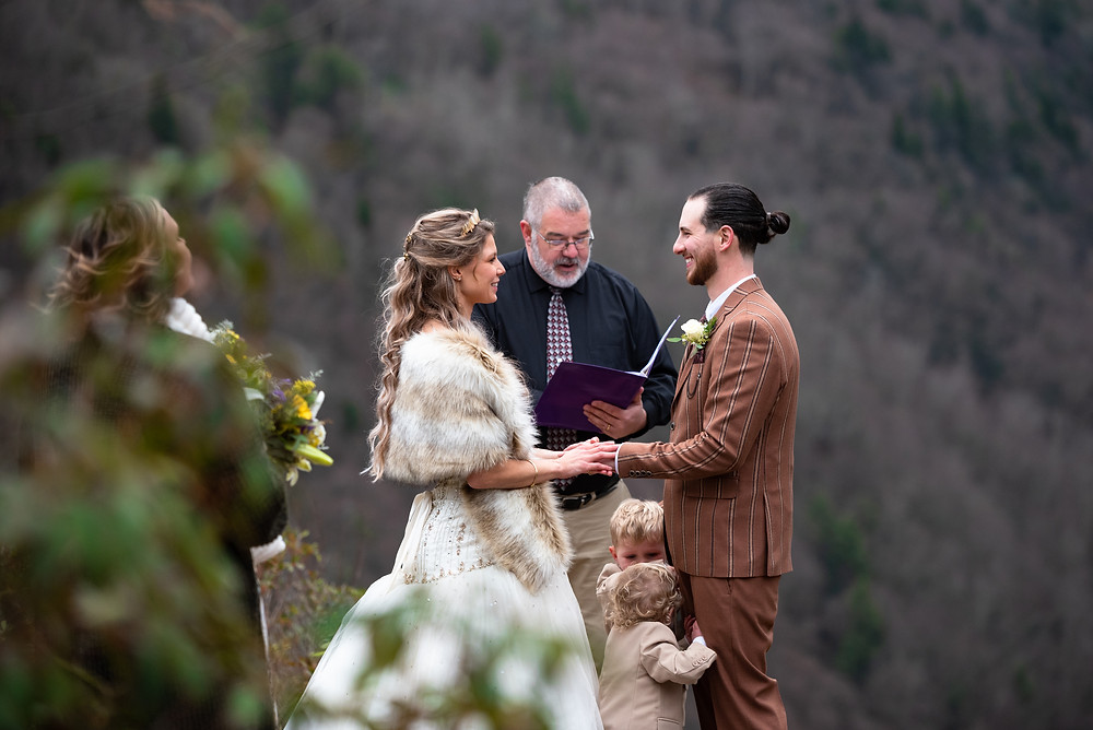Wedding ceremony overlooking the rolling hills of West VIrginia
