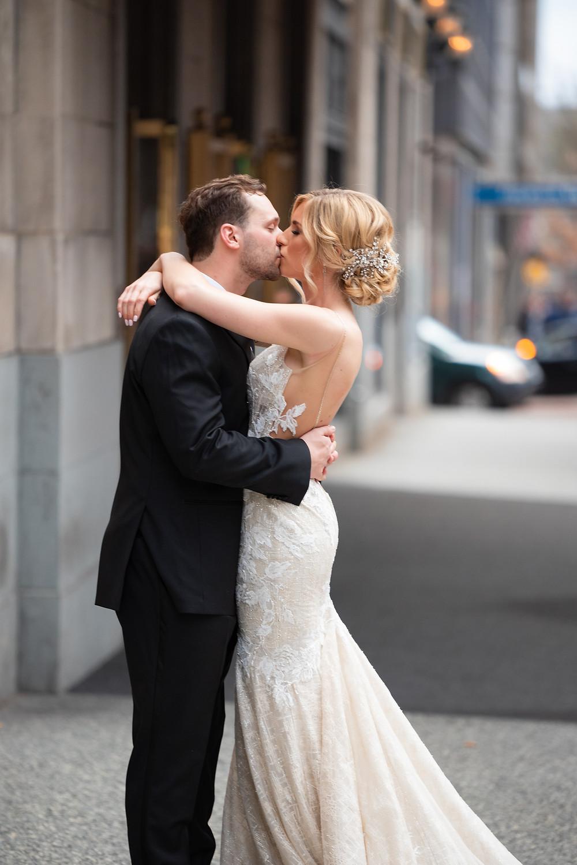 Bride wearing Berta gown in Pittsburgh