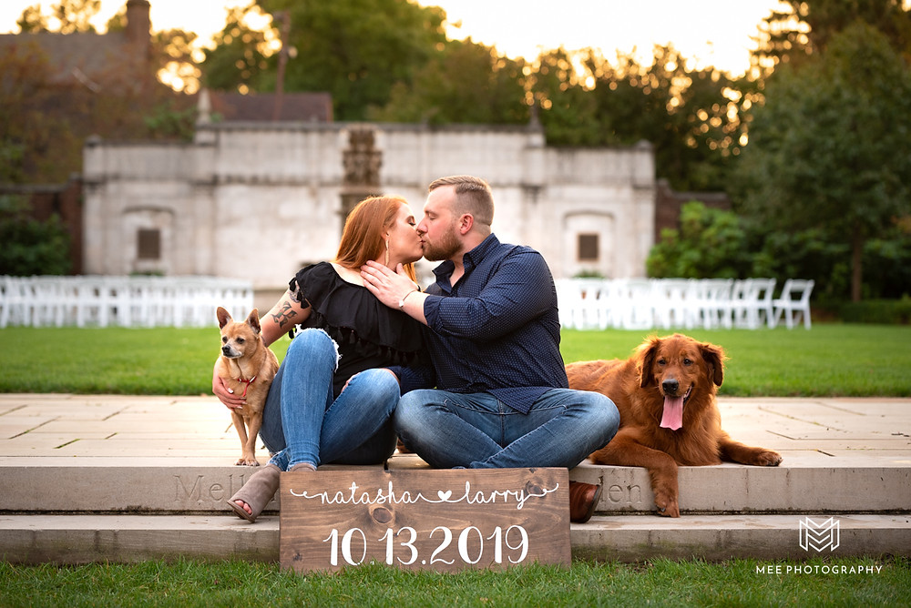 Sunset engagement at Mellon Park with puppies
