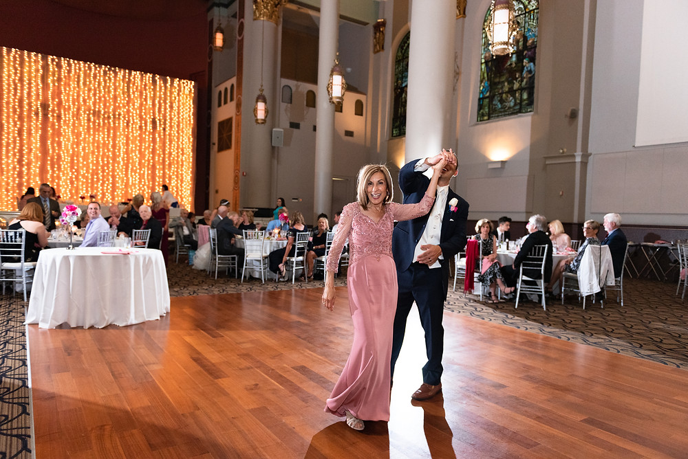 Mother and son dance at the wedding reception at The Priory