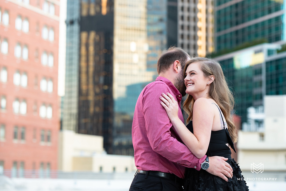 Roof top engagement session in Pittsburgh