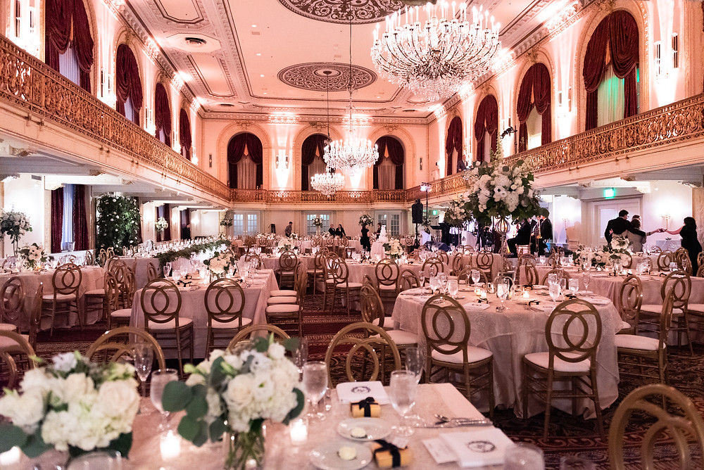 Wedding reception in the grand ballroom at the Omni William Penn hotel in Pittsburgh