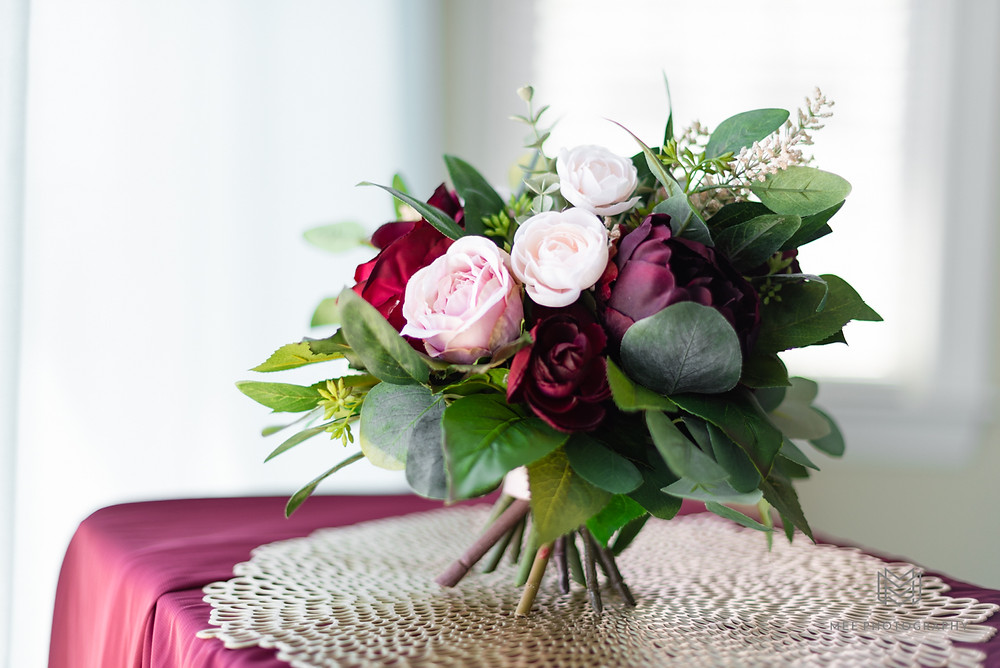 Burgundy and pink wedding boquet