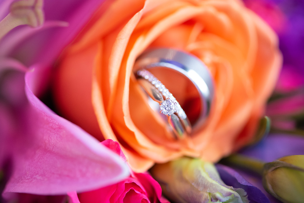 Pittsburgh wedding bands in colorful roses
