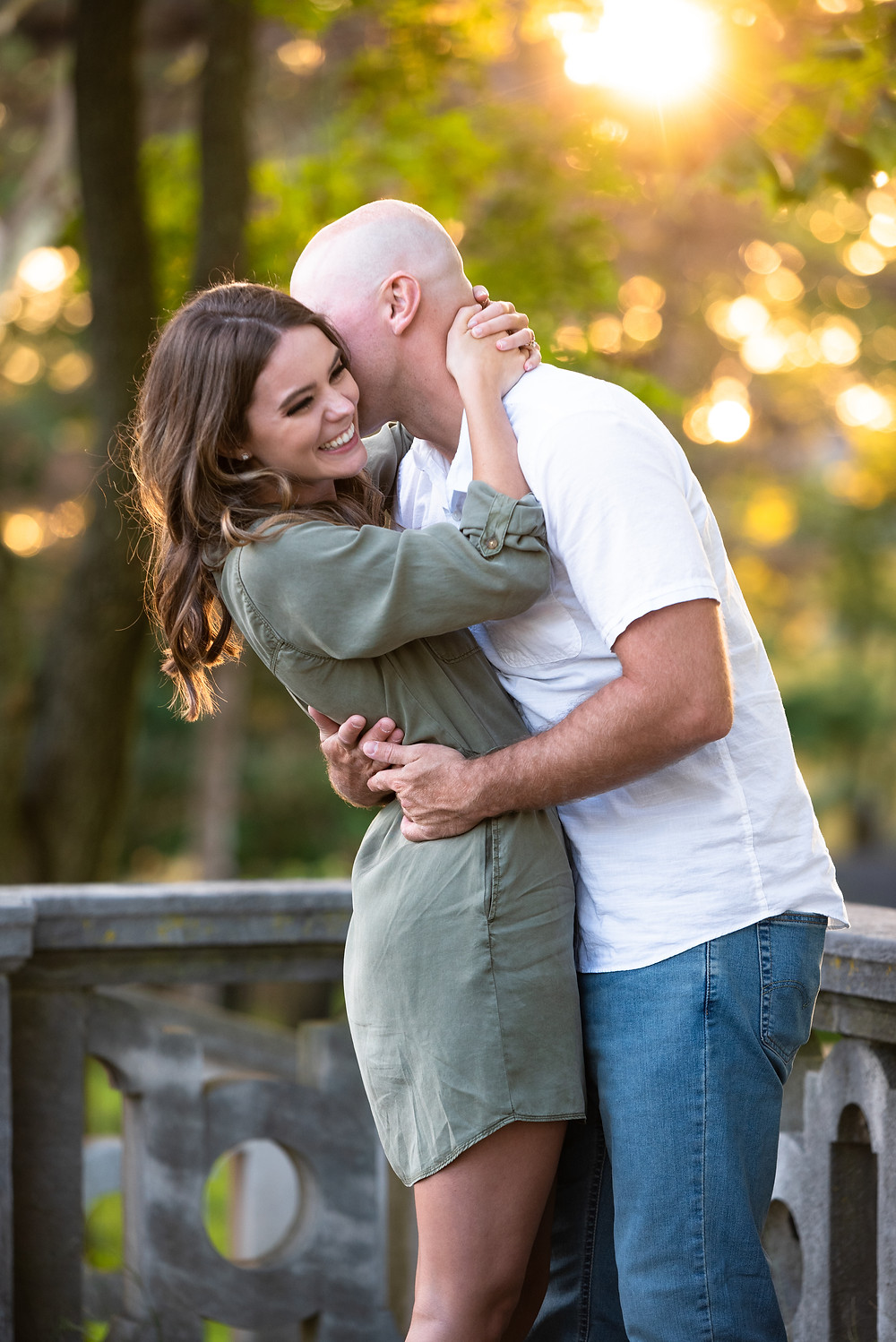 Sunset engagement session at Mellon Park in Pittsburgh