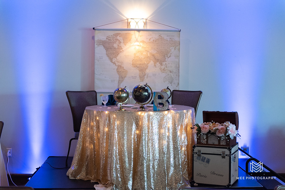 Wedding travel theme head table with maps, gold sequin table cloth, globes, and travel trunks