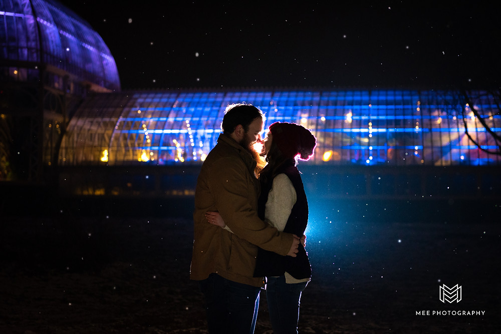 Night engagement session at Phipps Conservatory in Pittsburgh in the snow