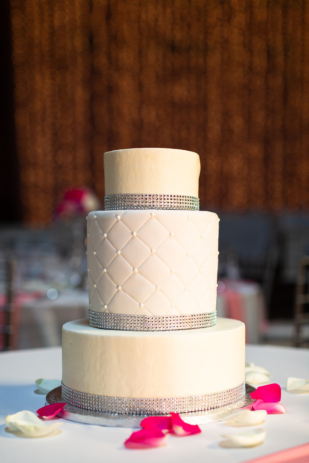 White wedding cake at the Priory
